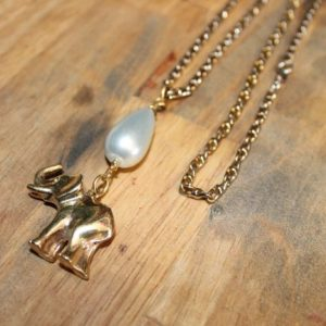 LONG ELEPHANT & PEARL DROP NECKLACE GORGEOUS 2-TONE CHAIN 1
