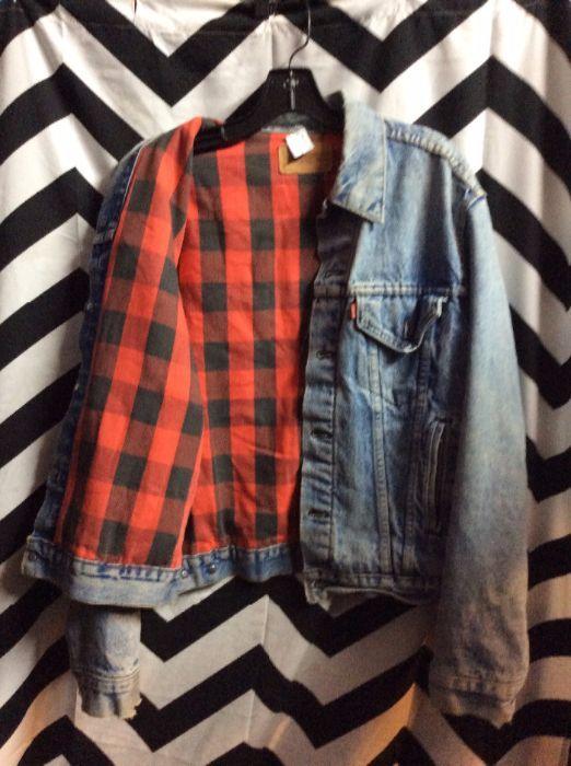 Levis Denim Jacket Button Up Flannel Lining W Check Pattern