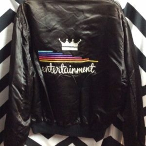 Vintage 1960s 70s Union Made Entertainment Rainbow Satin Jacket Souvenir 1
