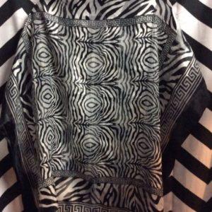 Silk Scarf Black White Leopard Print 1