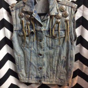 Vintage Denim Western Sleeveless Vest Jacket USA Made Leather Fringe & Riveted Conchos 1