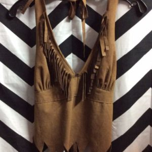 SUEDE LEATHER HALTER TOP FRINGE BUST 1