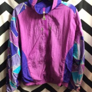 1990S GEOMETRIC PRINTED SLEEVE ZIPUP WINDBREAKER EMBROIDERED DESIGN 1