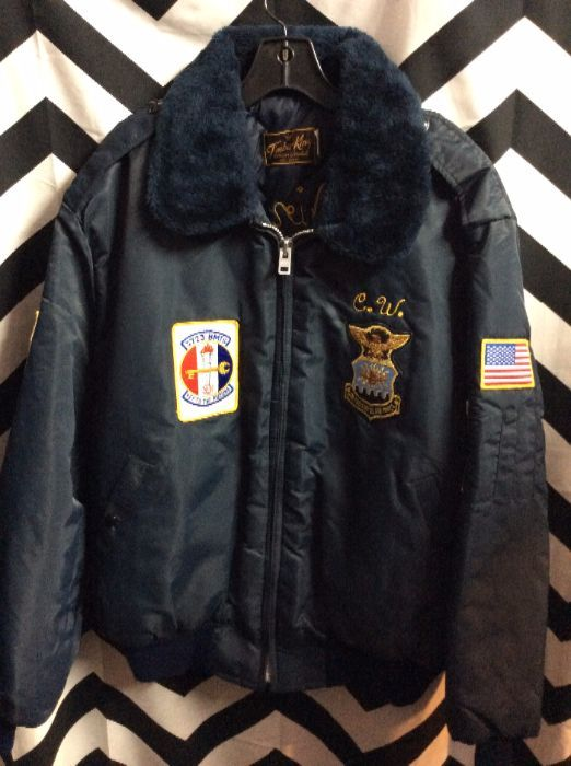 VINTAGE TIMBER KING BOMBER JACKET – US AIR FORCE FLIGHT JACKET – CHAIN  STITCHED LETTERING – EMBROIDERED FRONT CREST   EAGLE BACK DESIGN 5a7a8e8b05
