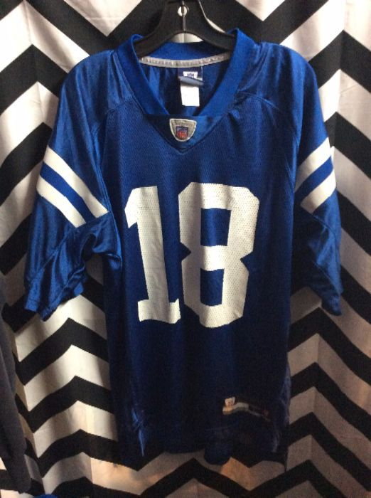 new concept 789e2 ef25b REEBOK FOOTBALL JERSEY - INDIANAPOLIS COLTS - PEYTON MANNING - #18 - STRIPS  ON ARMS - NFL