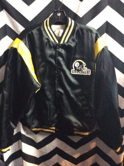 RETRO BASEBALL STYLE JACKET - SATIN - PITTSBURGH STEELERS - NFL » Boardwalk  Vintage 0506193a2