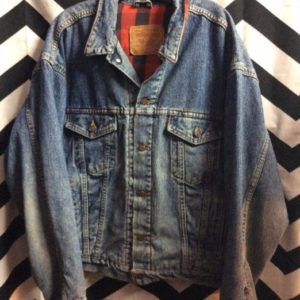 LEVIS Jacket Red Plaid Flannel Lining Classic Blue Washed 1