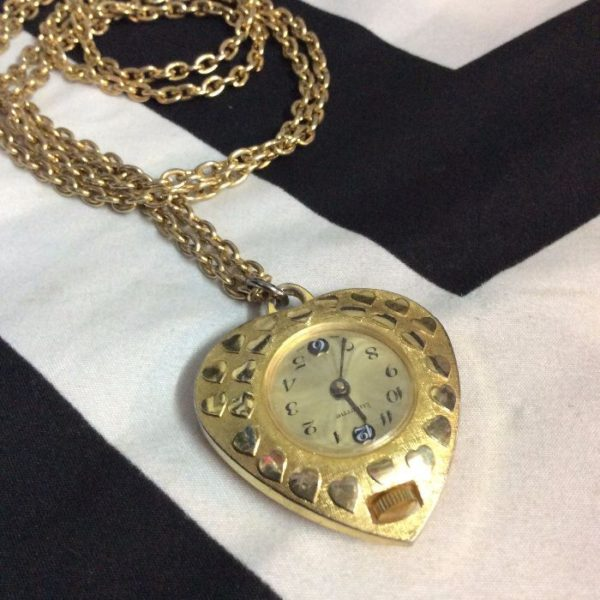 product details: HEART POCKET WATCH NECKLACE SUPER LONG CHAIN photo