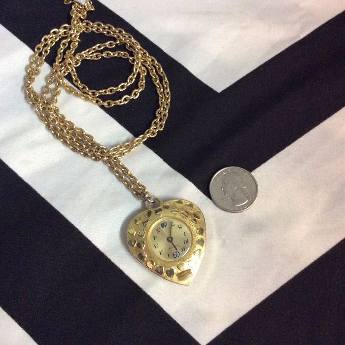 HEART POCKET WATCH NECKLACE SUPER LONG CHAIN 2