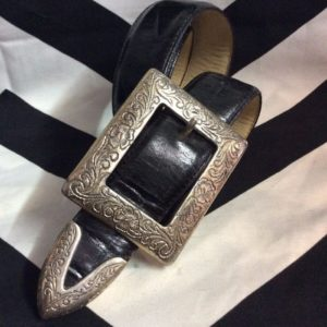 BELT Black Leather Gator Pattern Silver Tip Over Size Square Bugle 1