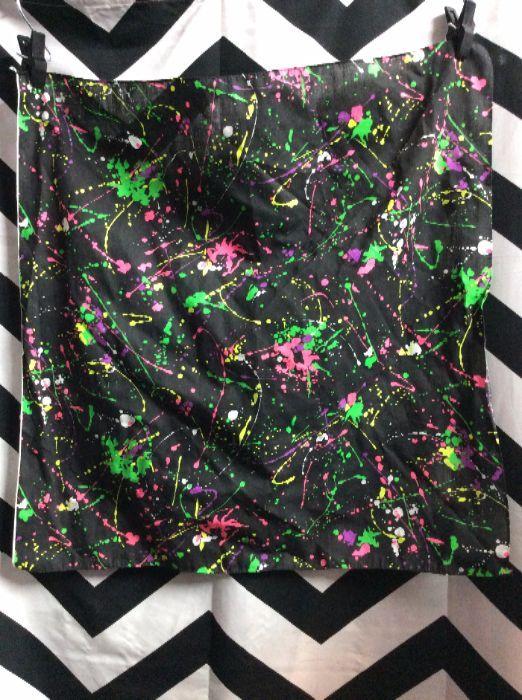 retro bandana splatter paint pattern neon colors boardwalk vintage
