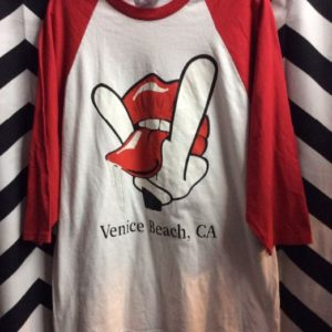 BASEBALL T SHIRT VENICE BEACH LIPS & PEACE SIGN 1