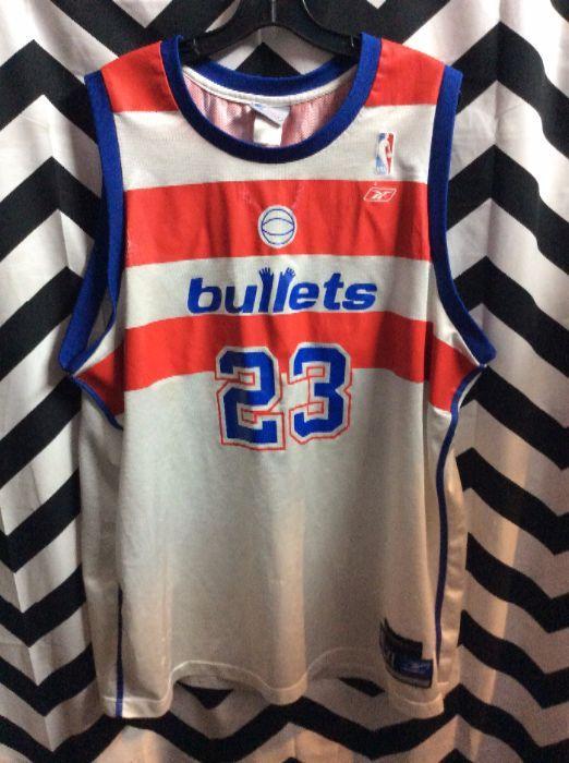 25aeb30376cdc THROWBACK BASKETBALL JERSEY - WASHINGTON BULLETS - JORDAN #23 - NBA