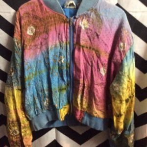 CROPPED RAYON PRINTED BOMBER JACKET as-is 1