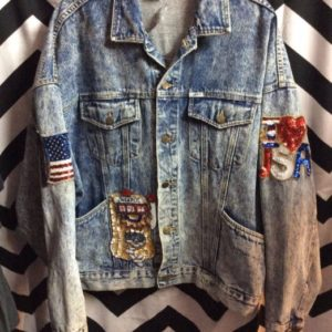OVERSIZED ACID WASH GUESS DENIM JACKET SEQUIN USA & rock n roll PATCHES 1