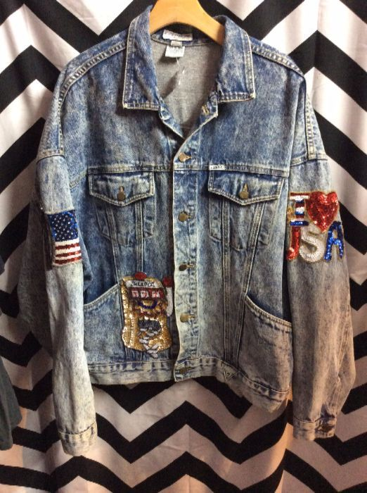 Guess Denim Jacket Acid Wash Sequin Patches Usa Rock N Roll