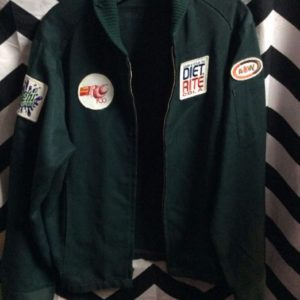 Retro green jacket with Soda patches 1