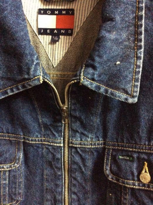 1990 s vintage tommy hilfiger denim jacket embroidered back patch
