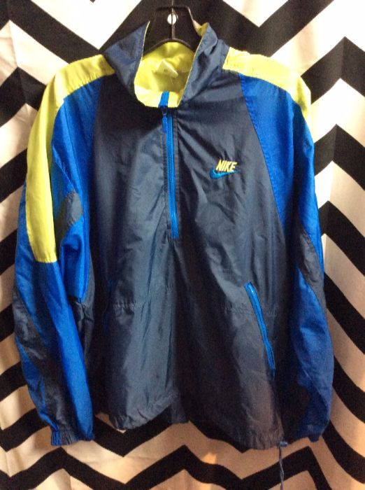 c89853254a8c VINTAGE NIKE WINDBREAKER JACKET – PULLOVER – HALF ZIP – COLOR BLOCK DESIGN