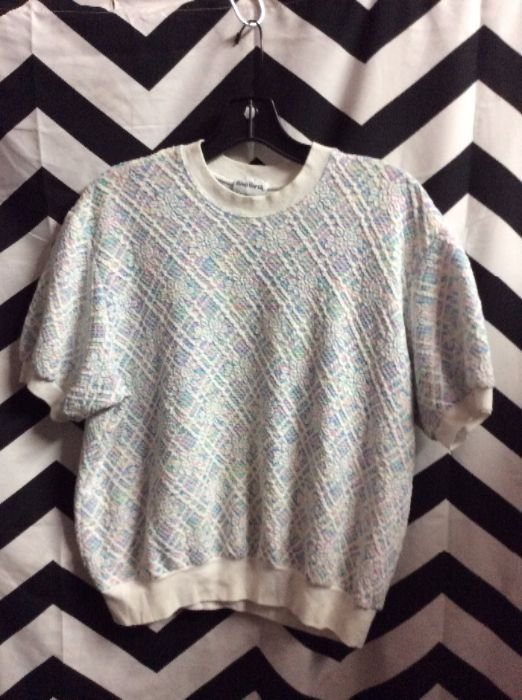 LITTLE PASTEL PULLOVER TEXTURED FLORAL PRINT TOP 1