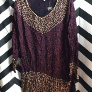 LS RAYON & EMBROIDERED ETHNIC STYLE MINI DRESS TUNIC 1