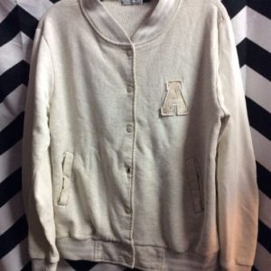 Cotton Varsity Style Button Up Jacket w/ front A Patch logo 1