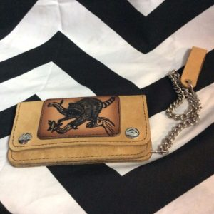 VINTAGE TOOLED LEATHER CHAIN WALLET 1