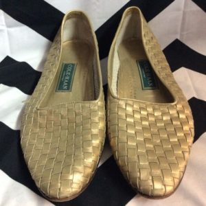 Slip On Woven Loafer Moccasin Shoes Gold Leather 1