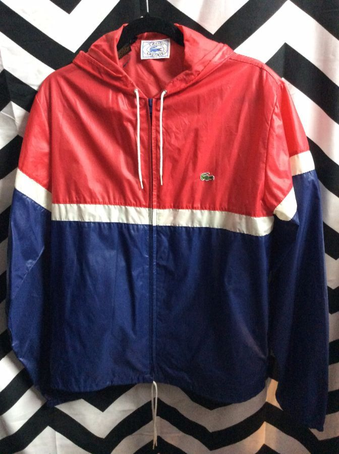 RETRO LACOSTE IZOD WINDBREAKER JACKET – ZIP-UP – HOODED – COLOR BLOCK DESIGN cee9b74c6