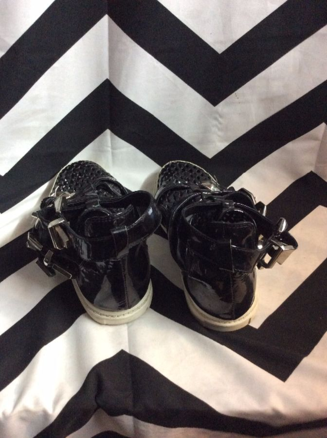 Four Buckle Straps High Top Mesh Toe Pleather 4
