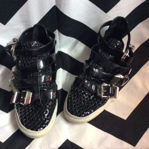 product details: SHOES – PATENT LEATHER – FOUR BUCKLED STRAPS – HIGH TOP – MESH TOE photo