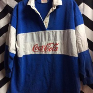 LS Retro Coca Cola Product Collar Sweatshirt White Chest Banner 1