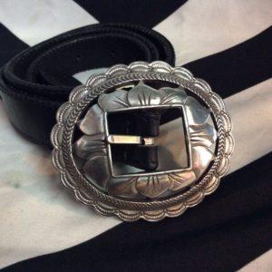 Oval Lotus Silver Buckle Black Leather Belt 1