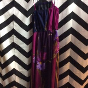 Poly Dress thin Straps Navy Purple Maroon Iris Flower 1