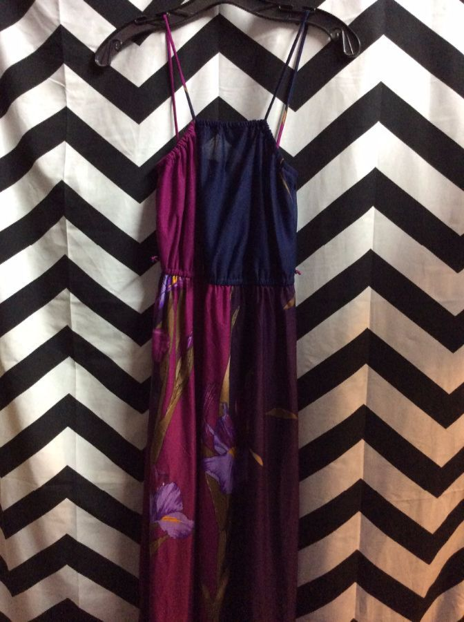 Poly Dress thin Straps Navy Purple Maroon Iris Flower 2