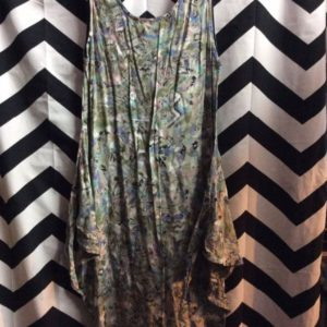 Rayon Summer Dress Jungle Forest Pattern Waist Wing Strap 1