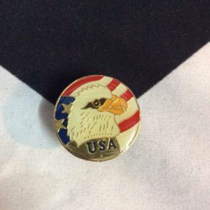 BW PIN- USA Eagle Head Circle Red Wht Blue 1