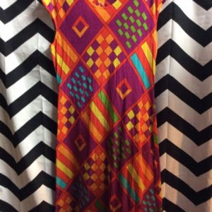 60's Geometric Pattern Multi Bright Color Squares 1