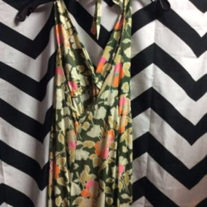 HALTER DRESS LONG FLORAL PRINT 1