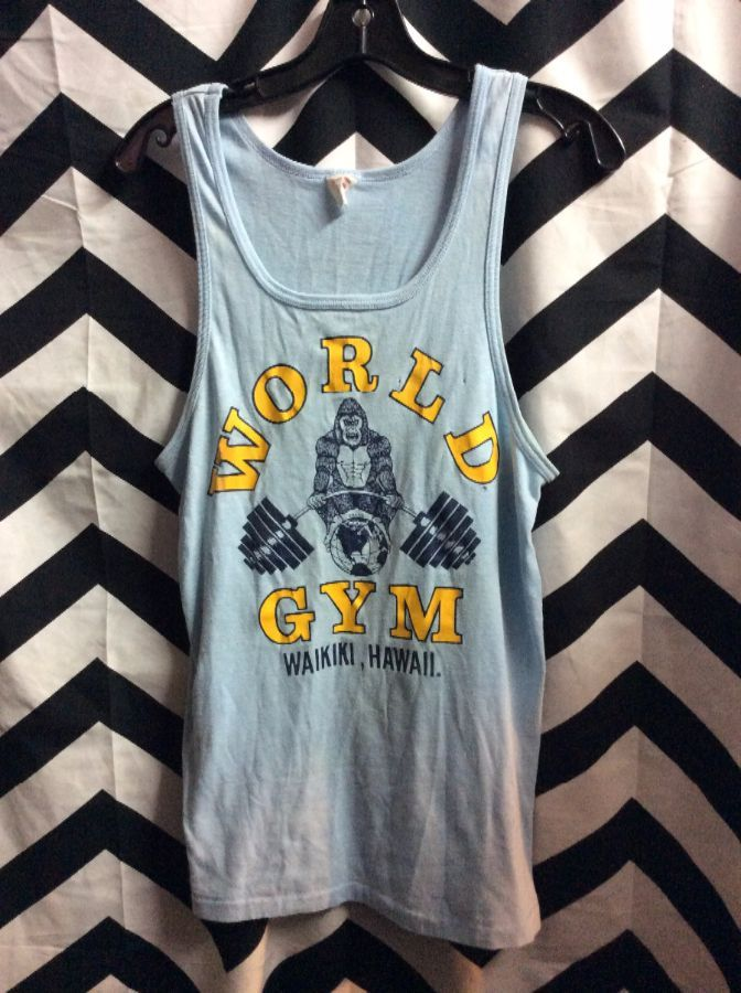 bd2b7f348217f VINTAGE TANK TOP - WAIKIKI HAWAII - WORLD GYM GRAPHIC » Boardwalk Vintage