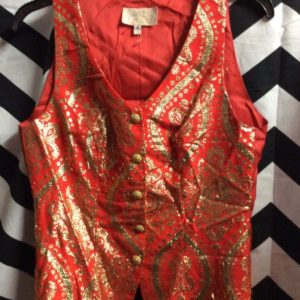 Vest Gold Asian Pattern Gold Button 1