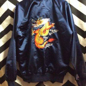 Satin Bomber Jacket KATHI Back Dragon Embroidered 1
