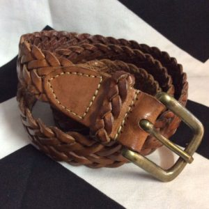 90's Braided Brown Leather Belt W39 1
