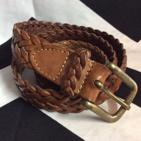 product details: 90S BRAIDED BROWN LEATHER BELT W39 photo