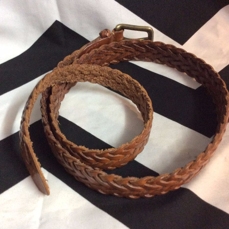 90's Braided Brown Leather Belt W39 2