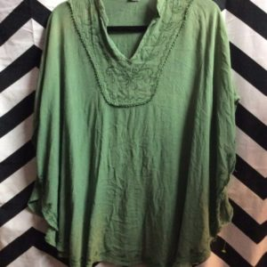 COTTON PONCHO STYLE TOP FLORAL STITCHING 1