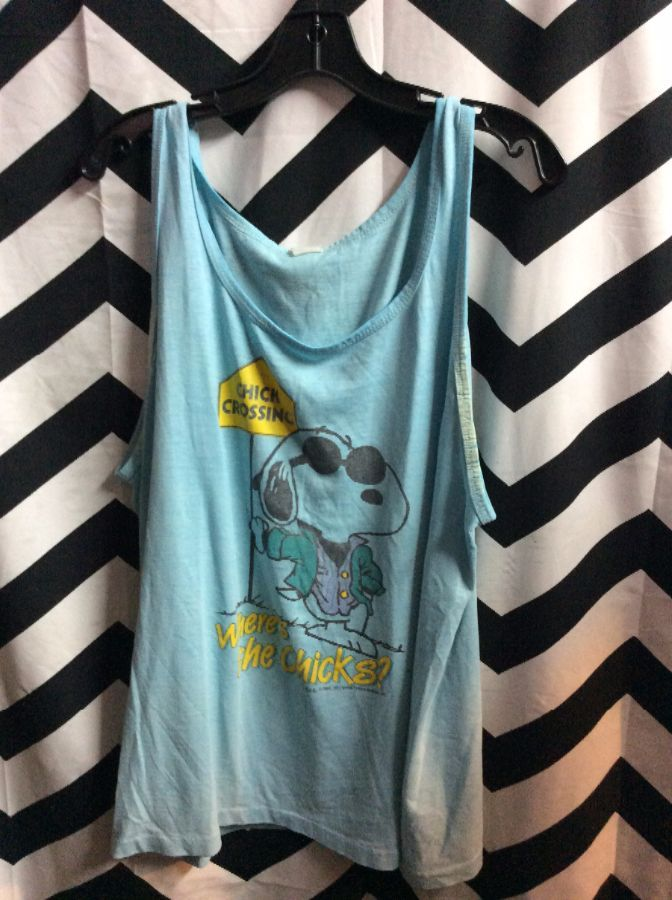 TANK TOP T SHIRT SNOOPY CHICK CROSSING 1