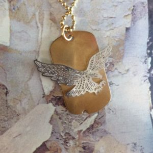 BALL CHAIN NECKLACE W/ DOG TAG EAGLE PENDANT 1