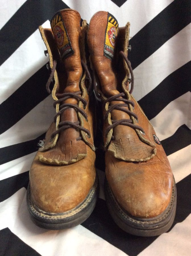 LEATHER LACE UP ROPER WORK BOOTS SIZE 7 1