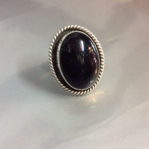 Classic Oval Onyx Ring Sterling Silver Setting Signed WS 1